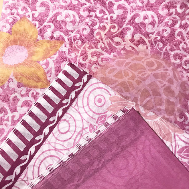 Sari Baumwolle Violett Handblockdruck