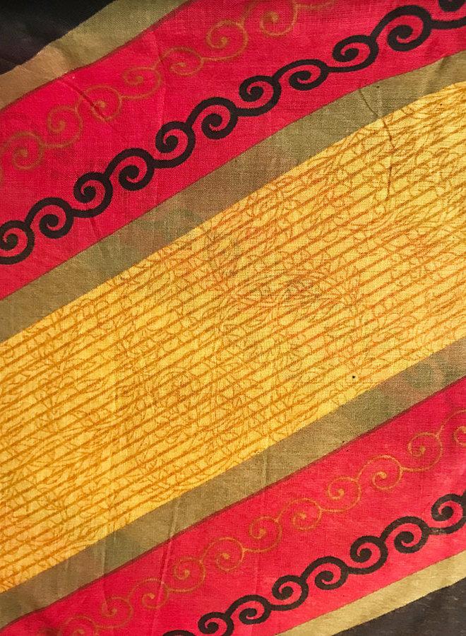 Sari Baumwolle Rot/Schwarz/Gelb Handblockdruck
