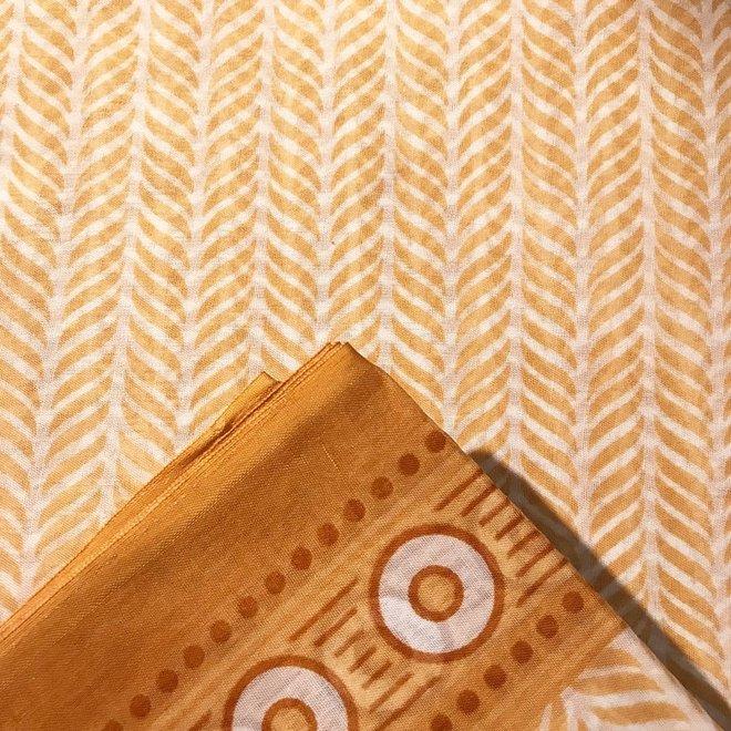Sari Baumwolle Mocca/Beige Handblockdruck