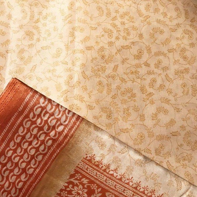 Sari Poly-Baumwolle in Braun/Beige Handblockdruck