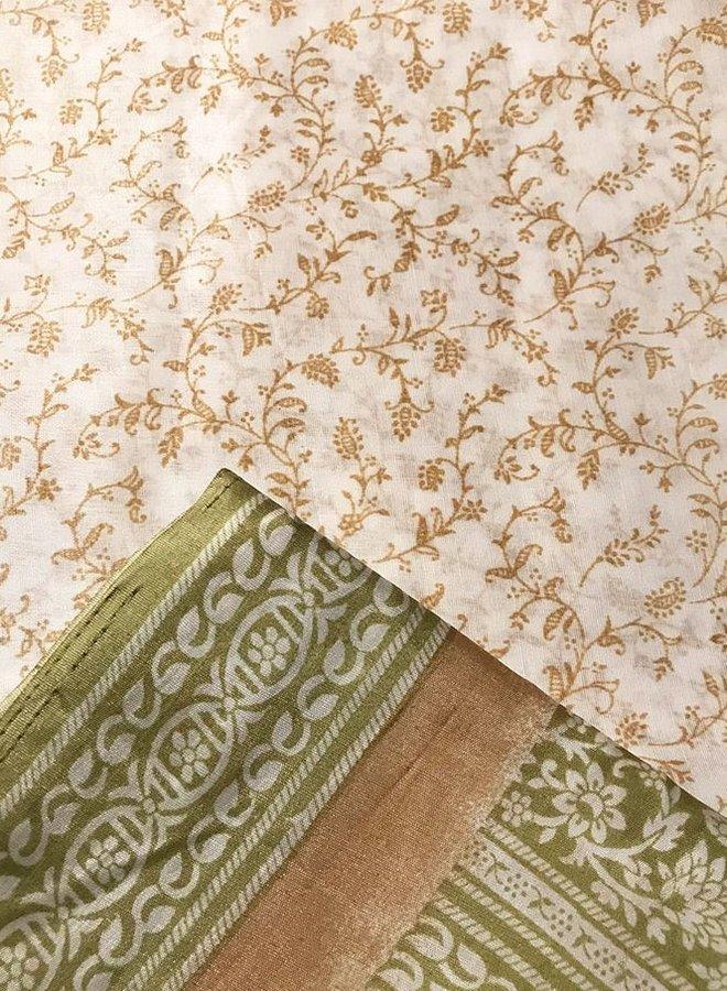 Sari Poly-Baumwolle in Braun/Beige/Grün Handblockdruck