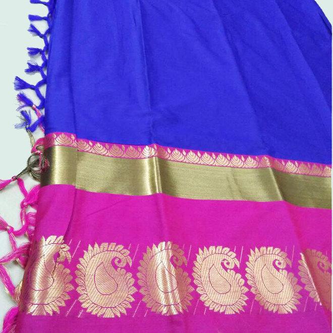 Sari Baumwolle/Seide in Blau/Pink mit Gold