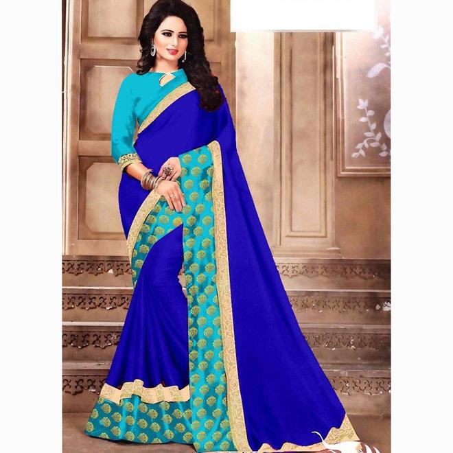 Sari Baumwolle in Blau mit Aqua