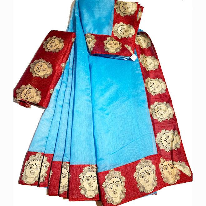 Sari Baumwolle in Blau mit roter Borte