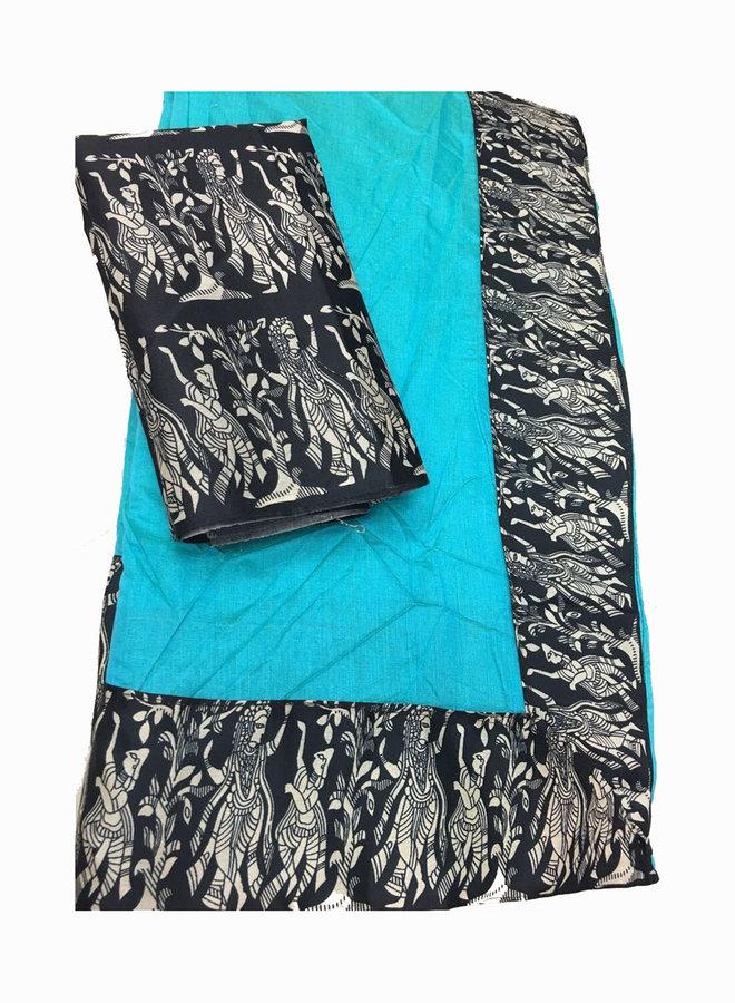 Sari Baumwolle in Blau mit dunkelblauer Borte