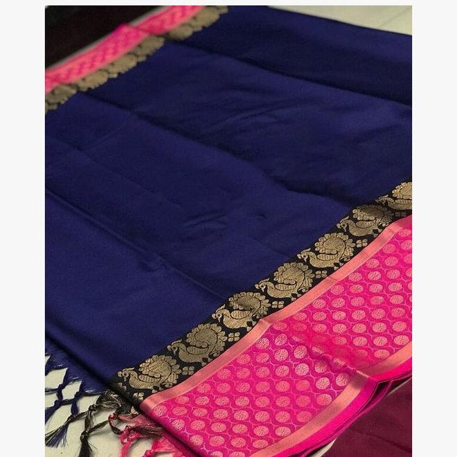 Sari Baumwolle/Seide in Blau, Pink und Gold