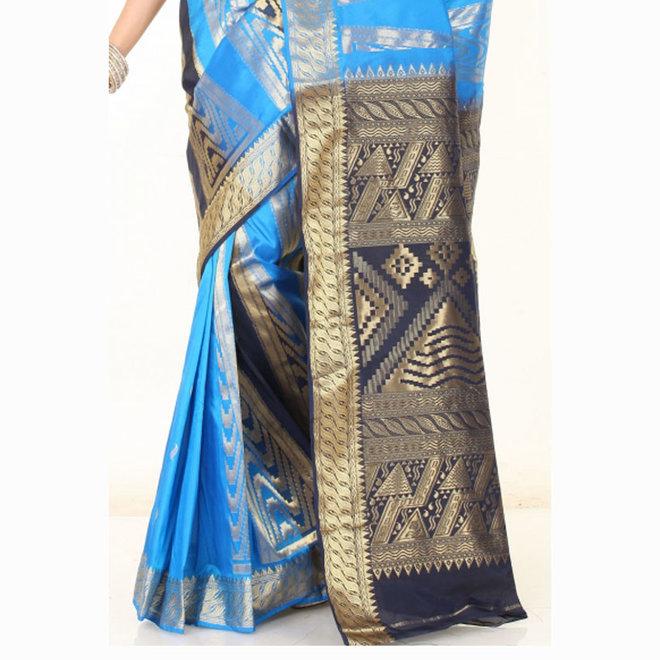 Sari Dupionseide in Blautönen mit viel Gold