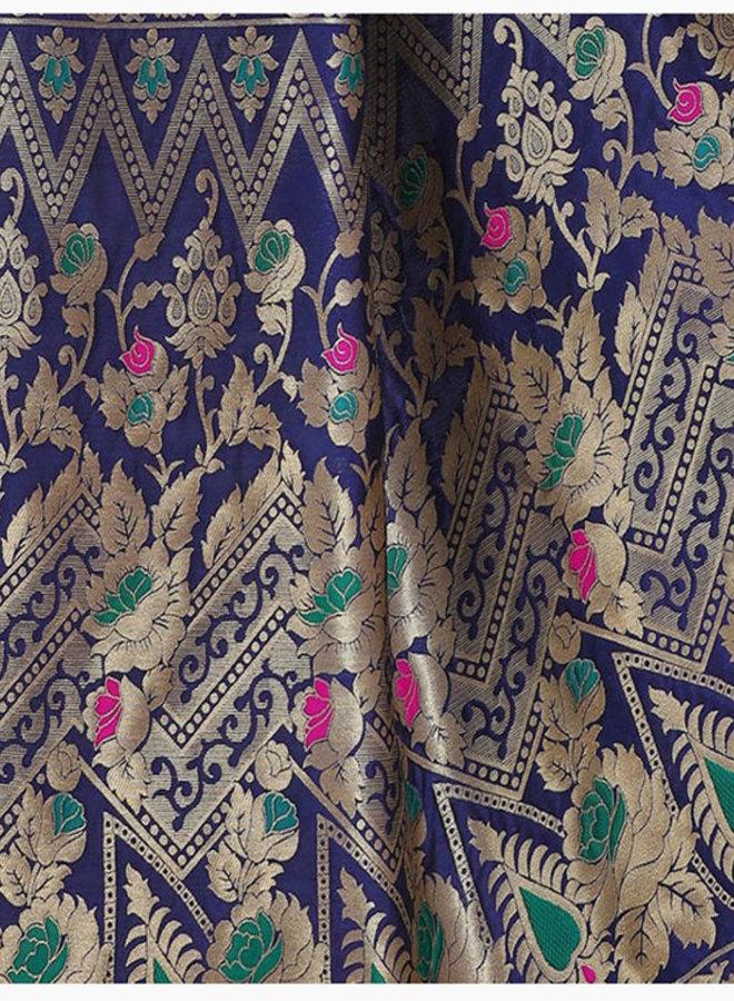 Sari Seidenbrokat in Blau mit Gold