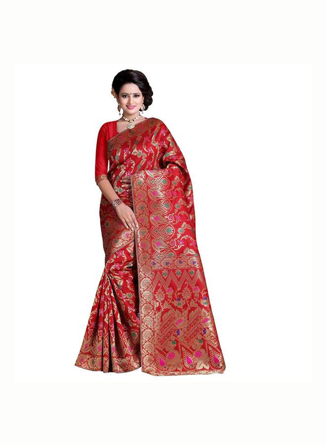 Sari Seidenbrokat in Rot mit Gold