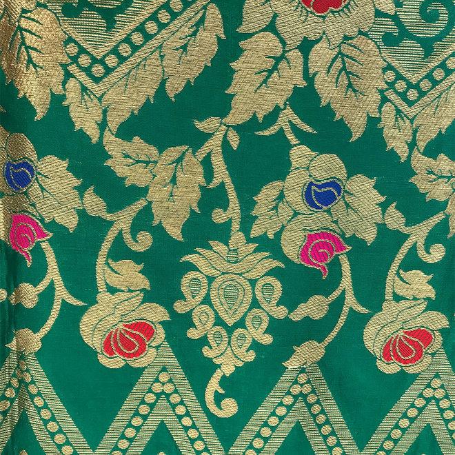 Sari Seidenbrokat in Grün mit Gold