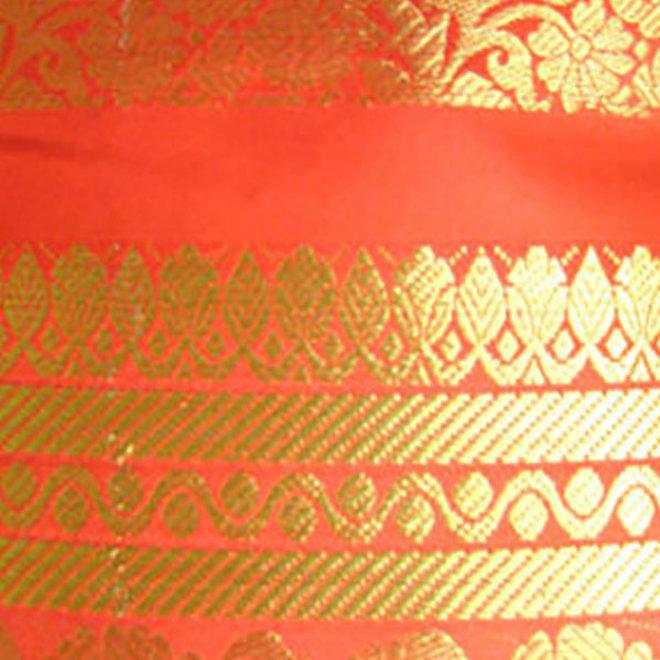 Sari Seidenbrokat in in Orange mit Gold