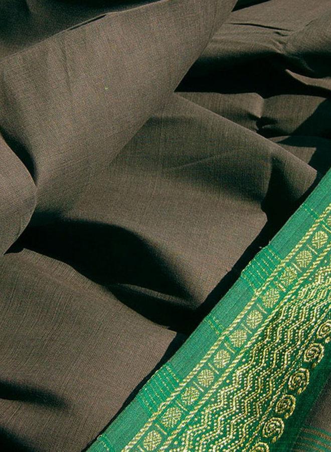 Sari Baumwolle in Grau mit grüner Borte