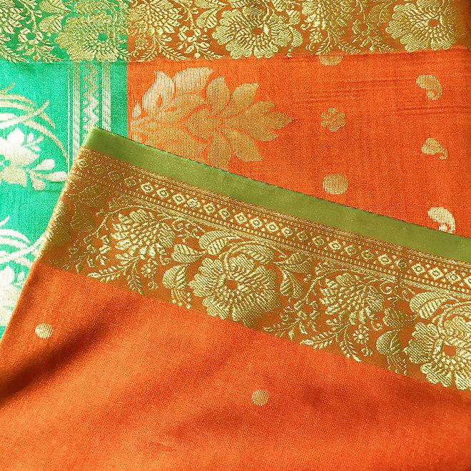 Sari Kalkutta in Braun, Grün mit Gold