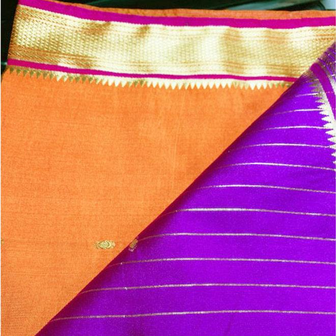 Sari Kalkutta in Kastanie, Violett mit Gold