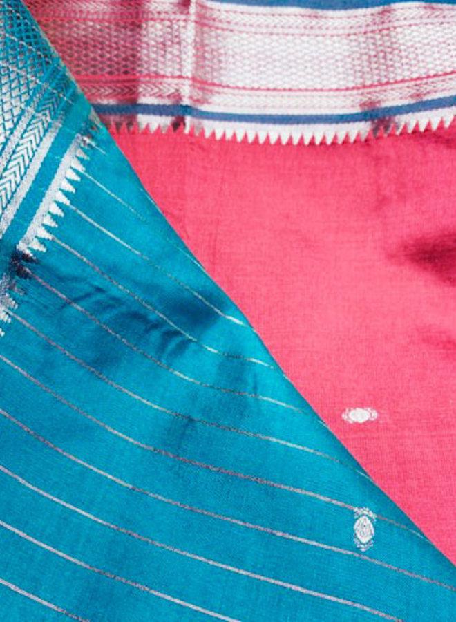 Sari Kalkutta in Rot, mit Petrol mit Gold