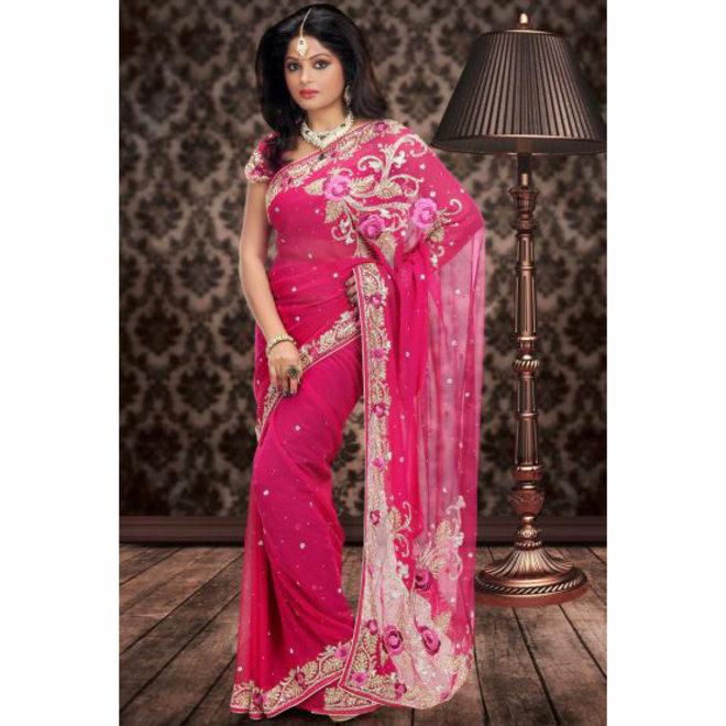 Hochzeitssari aus Chiffon in Pink bestickt