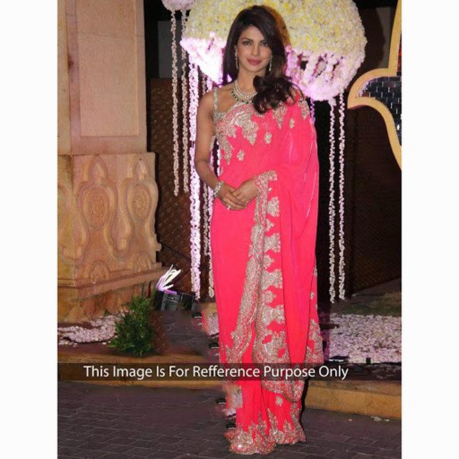 Sari aus Chiffon in Pink bestickt