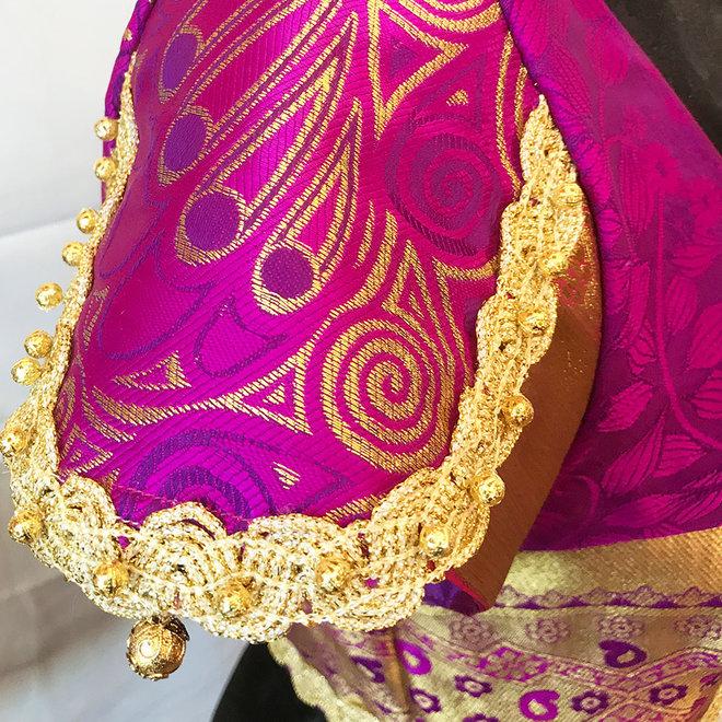 """Saribluse """"handmade"""" in Magenta mit Gold"""