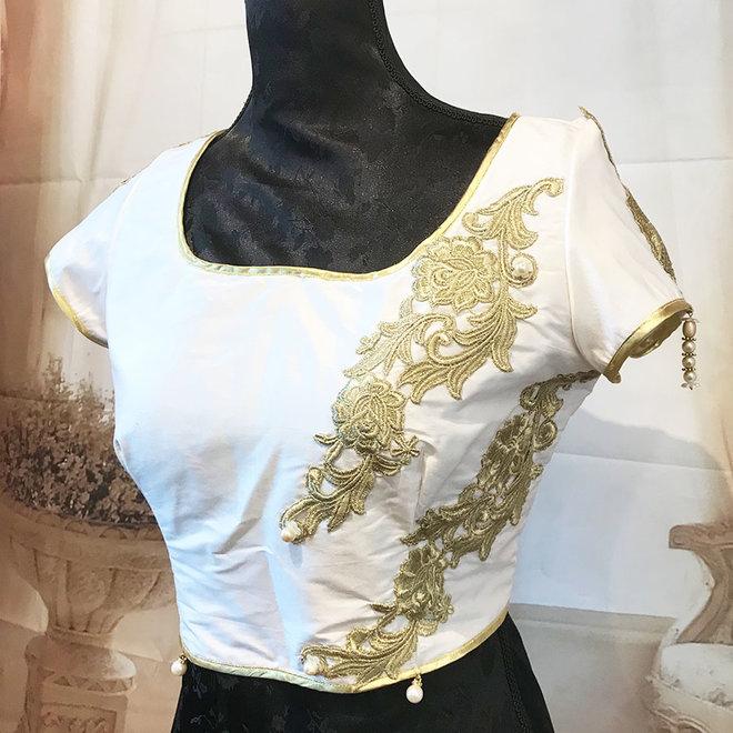 """Saribluse """"handmade"""" in Weiss aus Dupionseide"""