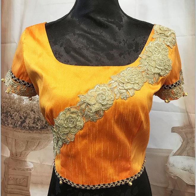 "Saribluse ""handmade"" in Orange aus Dupionseide"