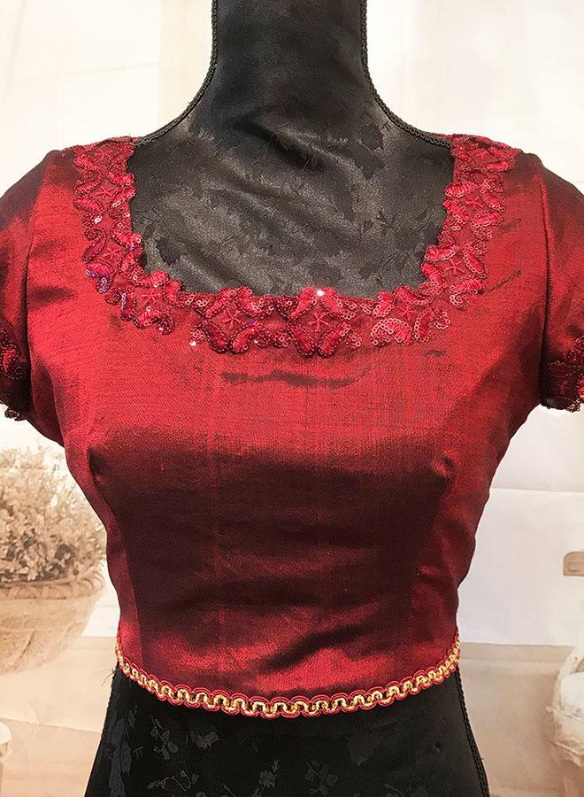 "Saribluse ""handmade"" in Rot aus Seide"