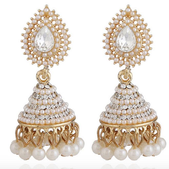 Jhumik Ohrringe mit weissen Perlen
