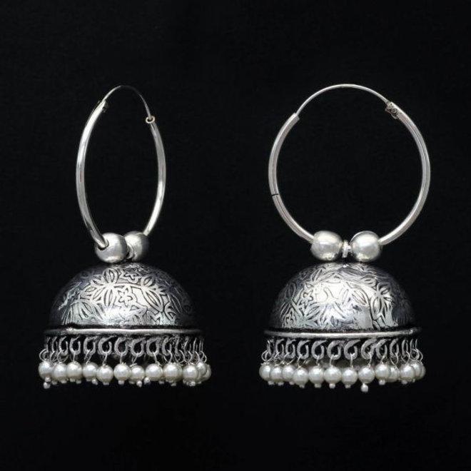 Indische Jhumka Ohrringe versilbert