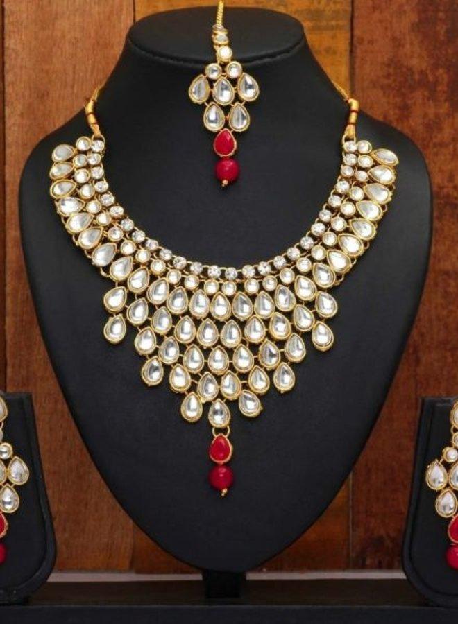Indisches Schmuckset in Gold-Pink