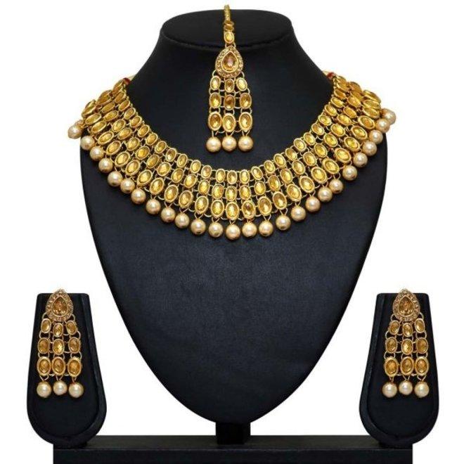 Indisches Schmuckset in Gold-Gelb
