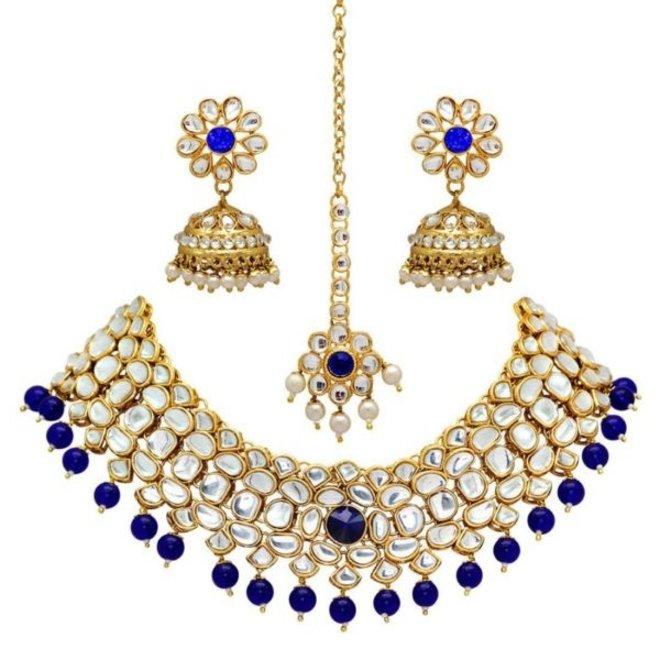Indisches Schmuckset in Gold-Blau