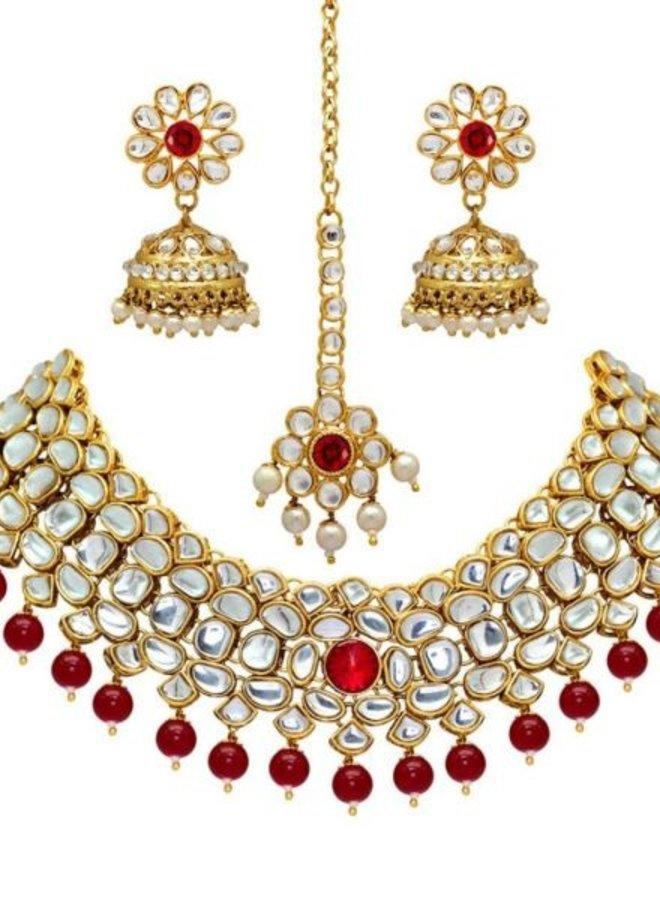 Indisches Schmuckset in Gold-Rot