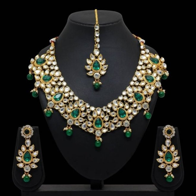Indisches Schmuckset in Gold-Grün
