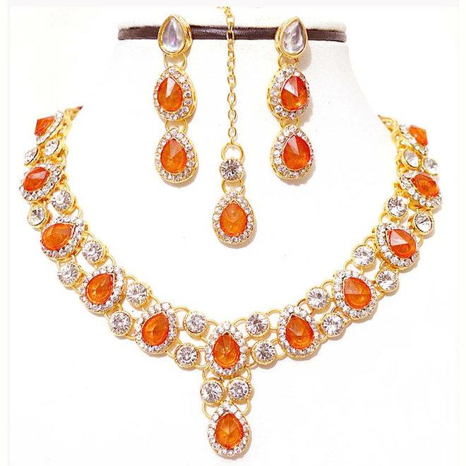 Indisches Schmuckset in Gold-Orange
