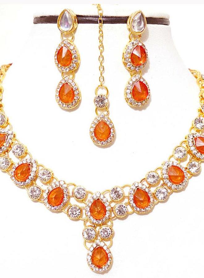 Indisches Schmuckset in Gold-Orange (Fehlerware)