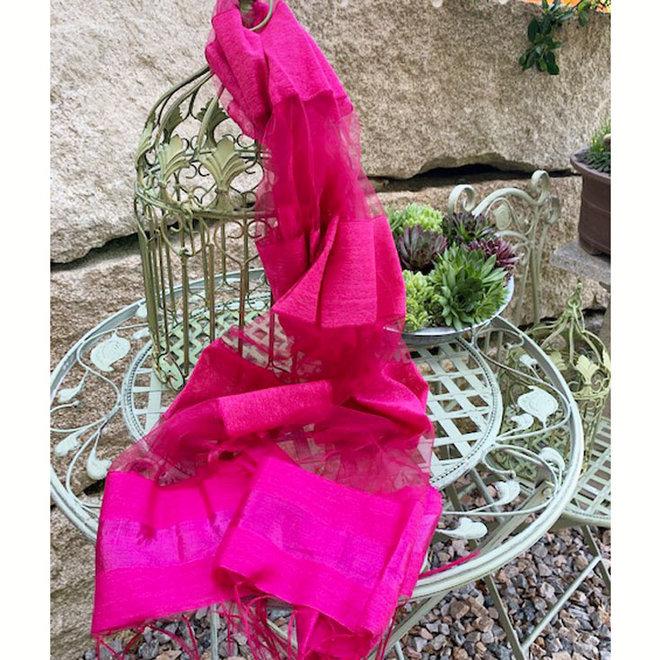 Seidenschal, Foulard in Pink gestreift