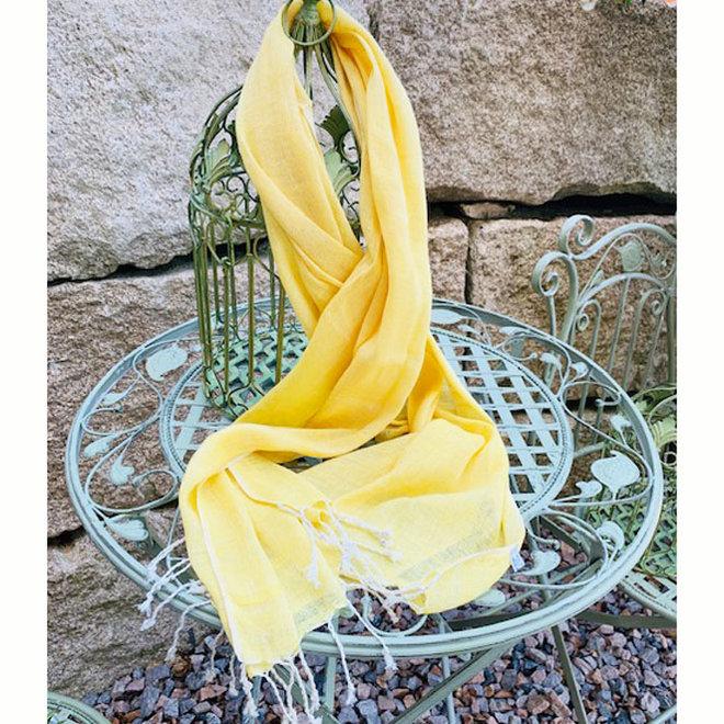 Schal aus Leinen in Gelb