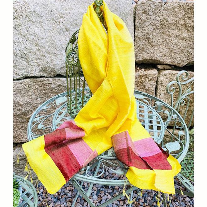 Seidenschal, Foulard in Gelb und Braun