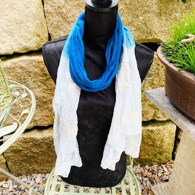 Schal, Baumwolle in Natur und Blau