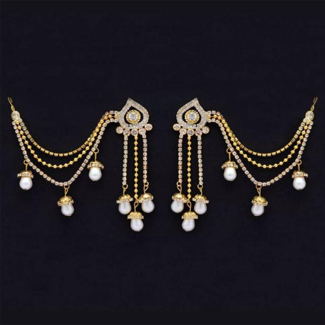Ohrringe mit Kette (Bahubali Ohrringe)