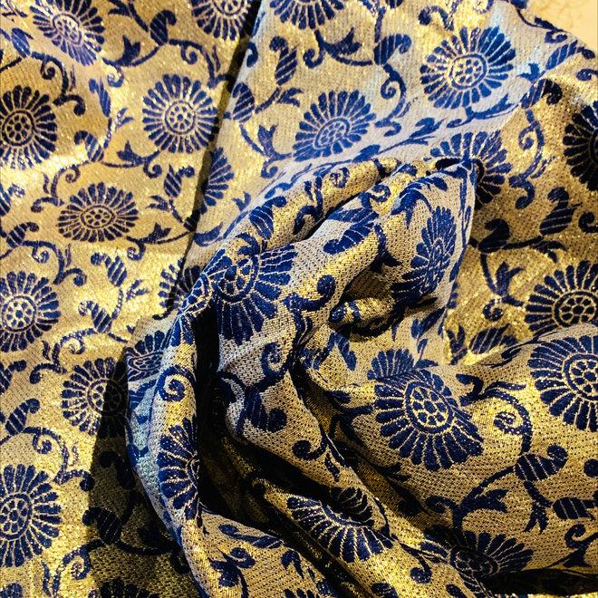 Sariblusenstoff  Seidenbrokat Gold/Blau (Coupon)