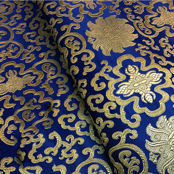 Sariblusenstoff Blau, Gold