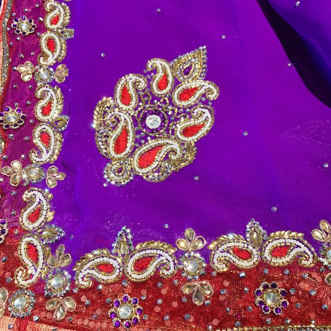 Hochzeitssari aus Chiffon in Violett