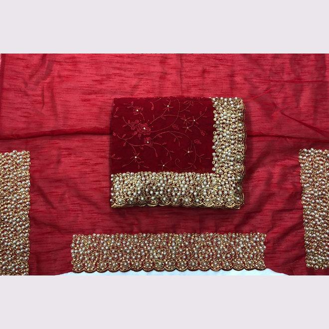 Exklusiver Sari aus Chiffon in Rot