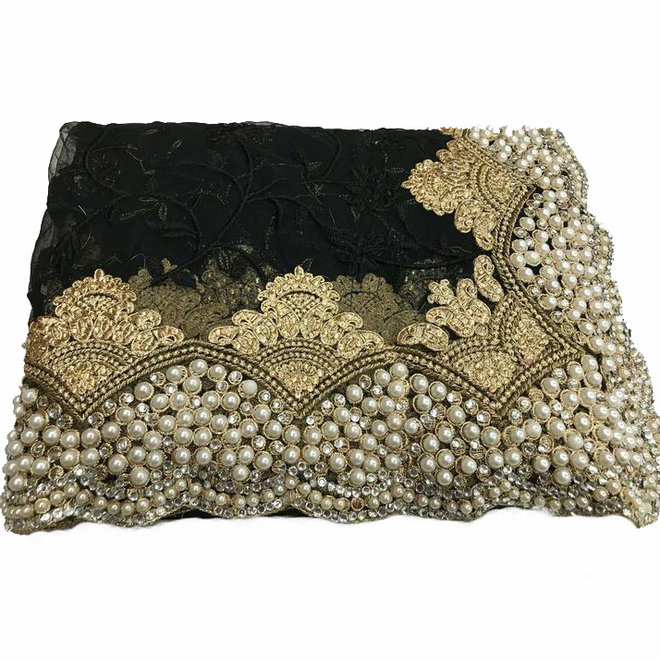 Bestickter Sari in Schwarz mit Perlen