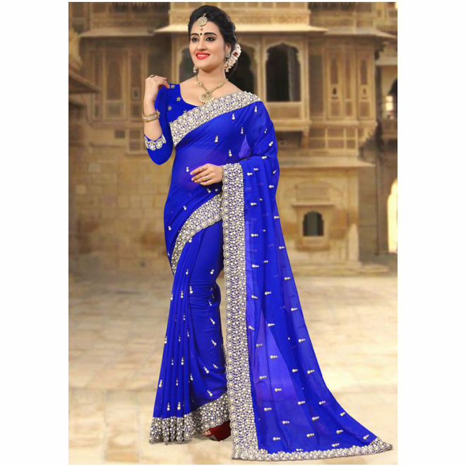 Sari Chiffon in Blau mit Perlen