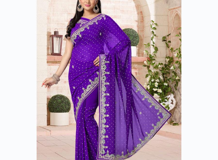 Exklusiver Sari aus Chiffon in Lila