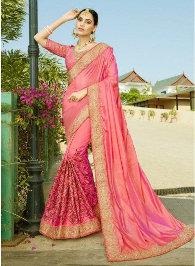 Eleganter Lehenga Sari Lachs, Pink
