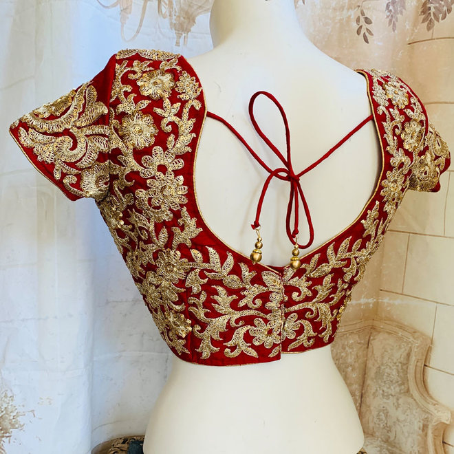 "Saribluse ""handmade"" in Rot  - Gold"