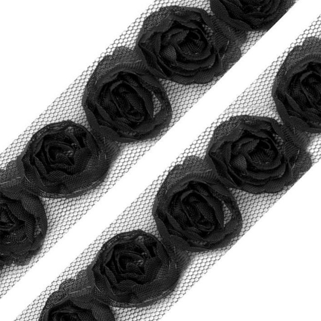 Tüllborte mit Rosen (2 cm)