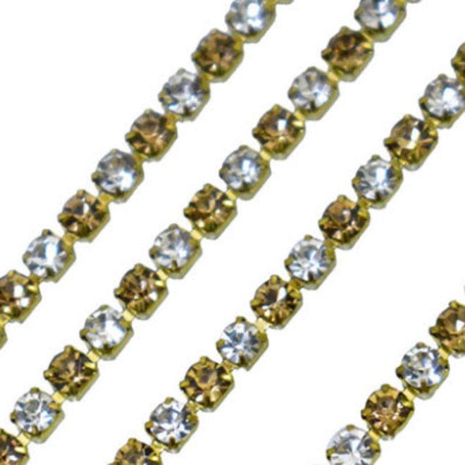 Kristallkette Gold-Klar (3 mm)